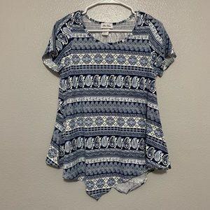 Star Vixen Blue Paisley Short Sleeve Shirt